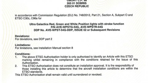 European Technical Standard Order (ETSO) Authorisation for ULTRA GALACTICA