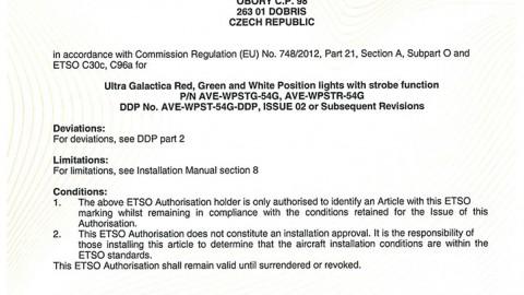 European Technical Standard Order (ETSO) Authorisation for ULTRA GALACTICA