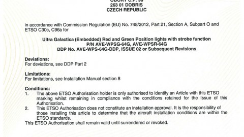 European Technical Standard Order (ETSO) Authorisation for ULTRA EMBEDDED GALACTICA
