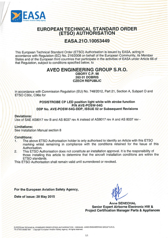 European Technical Standard Order (ETSO) Authorisation for POSISTROBE CP