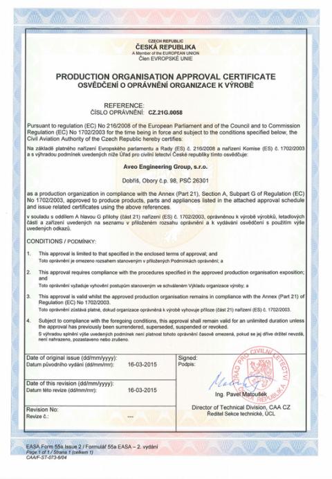 Aveo Engineering Awarded EASA Production Organization Approval (POA)