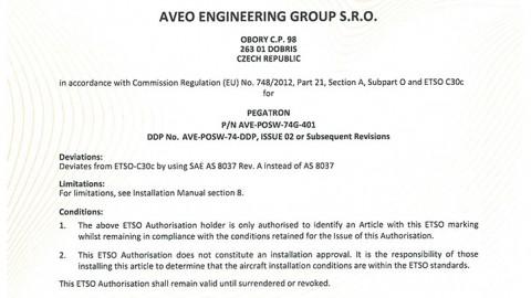 European Technical Standard Order (ETSO) Authorisation for PEGATRON