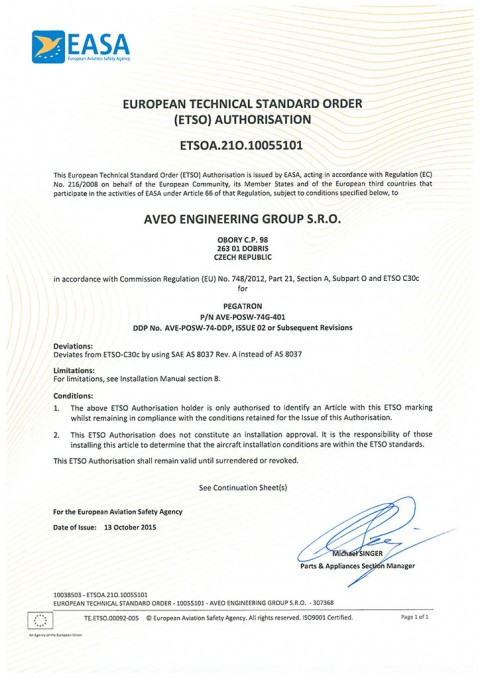 European Technical Standard Order (ETSO) Authorisation for PEGATRON