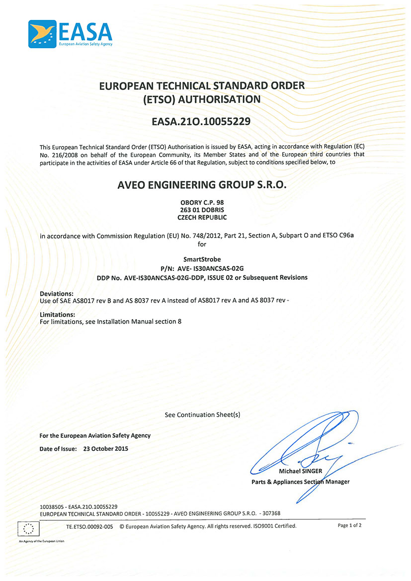 European Technical Standard Order (ETSO) Authorisation for SMARTSTROBE