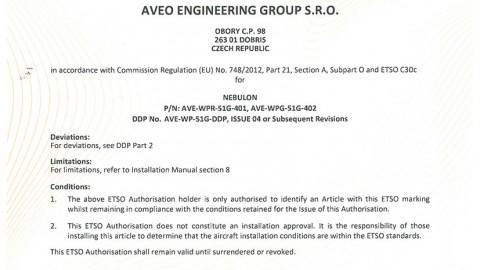 European Technical Standard Order (ETSO) Authorisation for NEBULON