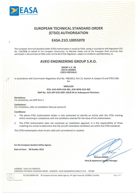 European Technical Standard Order (ETSO) Authorisation for NEBULON