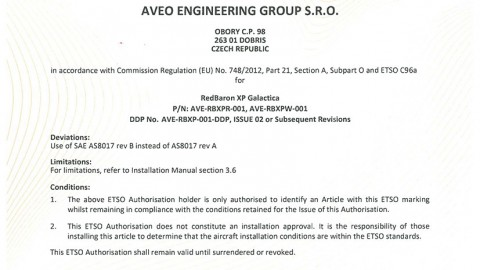 European Technical Standard Order (ETSO) Authorisation for REDBARON XP GALACTICA