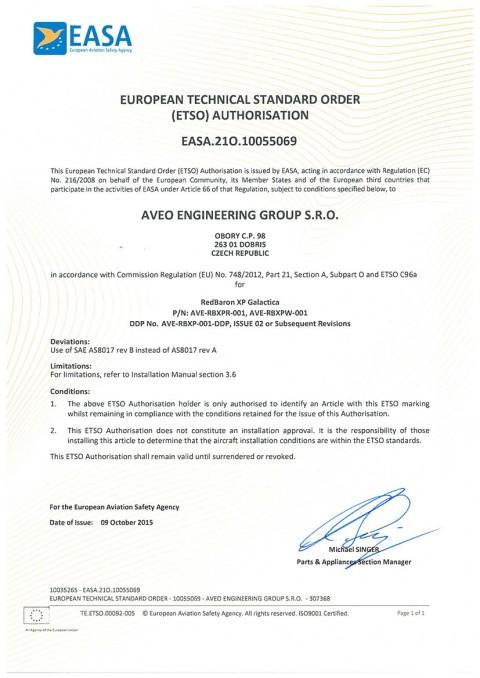 European Technical Standard Order (ETSO) Authorisation for REDBARON XP GALACTICA