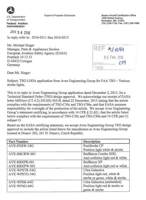 FAA LODA Approval for the European ETSO Aveo Lights