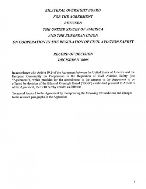 EASA and FAA have completed the updated reciprocal agreement