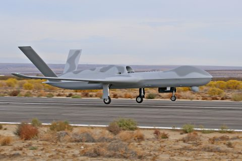 General Atomics Predator C Avenger ER Makes First Flight… with Aveo conformal lights!