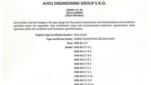 Aveo Engineering Group achieves EASA MINOR CHANGE APPROVAL for MBB – BK 117 (Airbus Helicopters Deutschland)