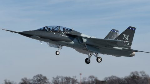 First flight of T-X Trainer… note the Aveo StealthViz on the wingtip