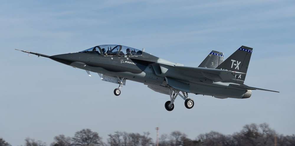 First flight of T-X Trainer... note the Aveo StealthViz on the wingtip