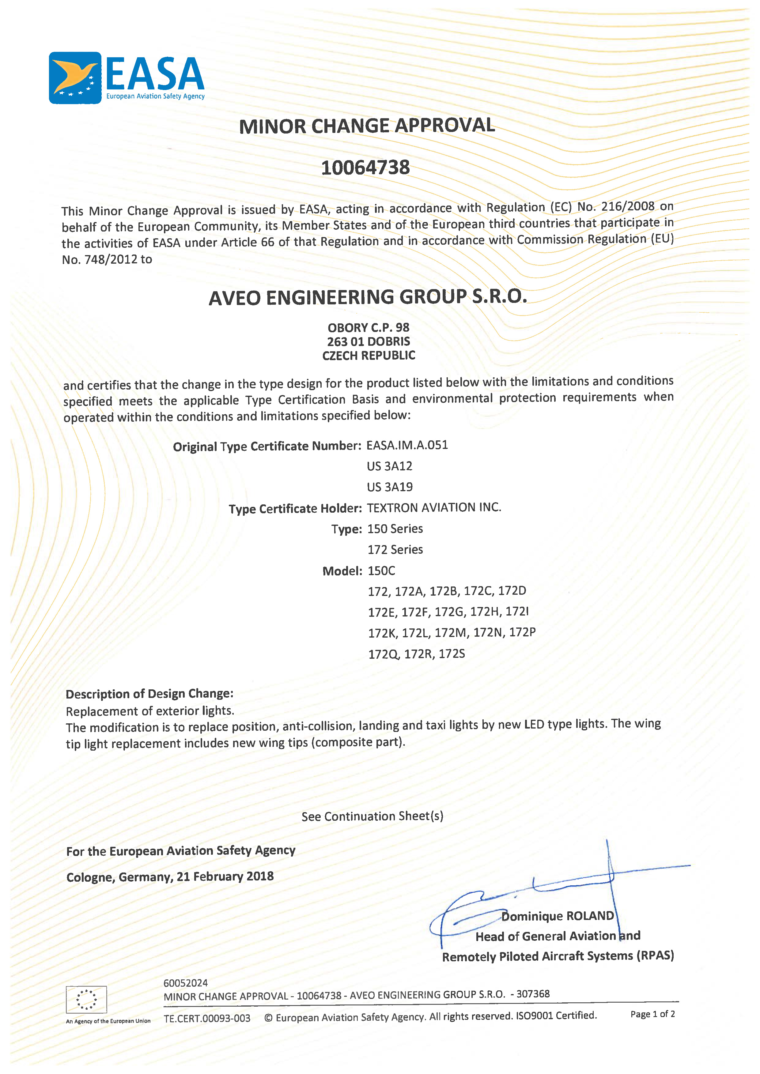 Aveo Engineering Group Achieves Easa Minor Change Approval